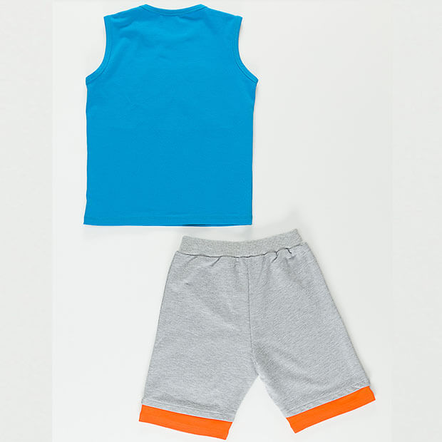 Raw Disli Yeah Blue T-shirt With Multi-color Short
