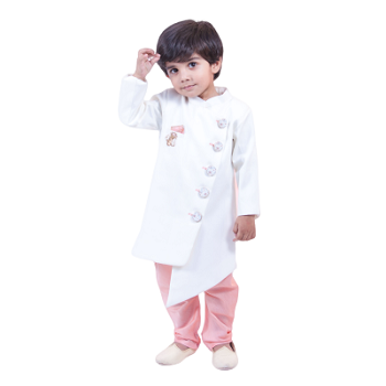 Fayon Kids Offwhite Ajkan With Churidar