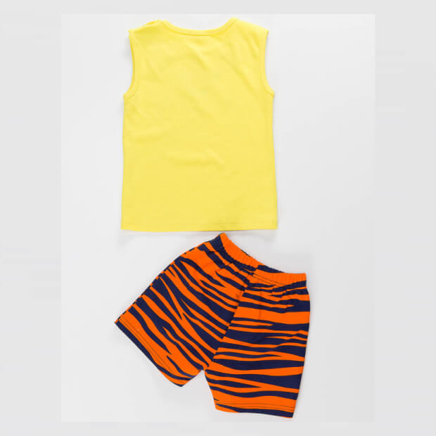 Raw Kaplan Pati Yellow T-shirt with Multi-color Short