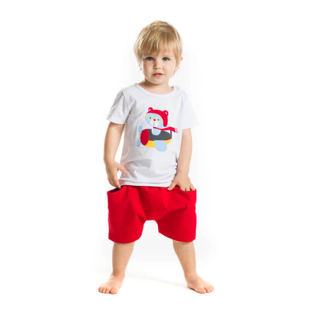 Planor Printed White T-shirt With Red Short