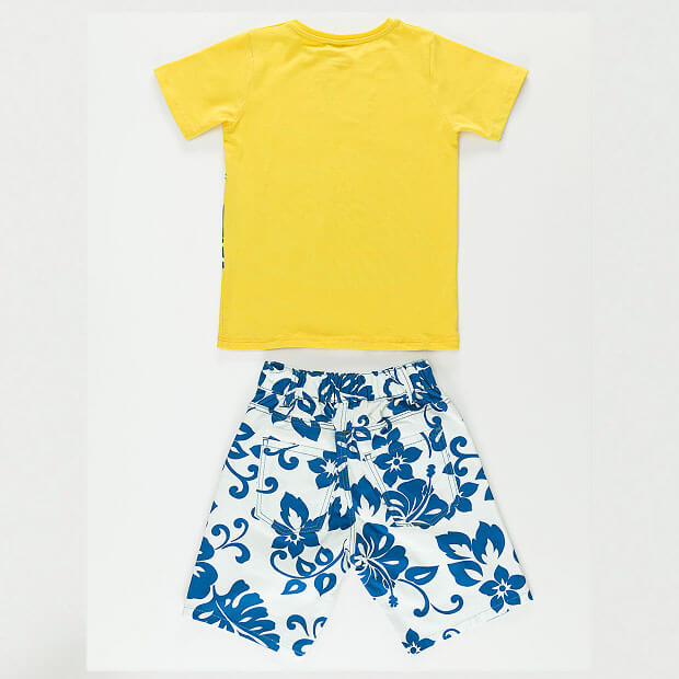 Raw Ride Printed Yellow T-shirt With Multi-color Short