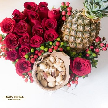 Fresh Red Roses, Nuts & Pinnaple Arrangement
