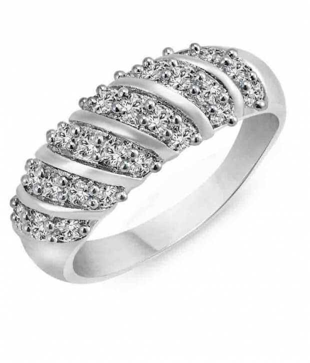 White Curve Band Alloy Ring