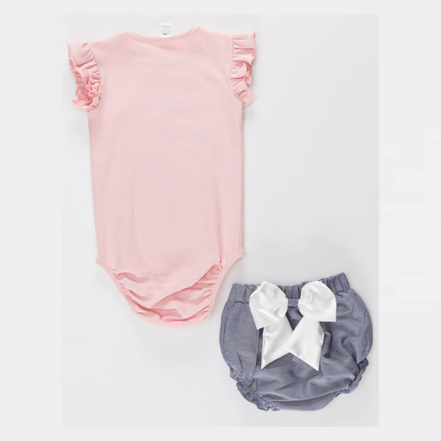 Balerin Fare Stylish Pink Babysuit with Grey Short