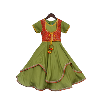 Fayon Kids Green Anarkali Dress With attached Embroidery Jacket