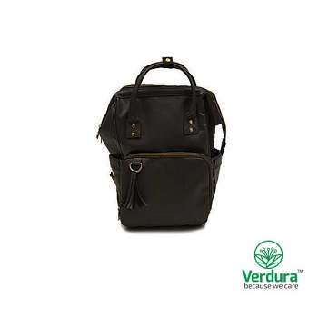 Myverduracare Black Vegan Leather Day Tripper Bag