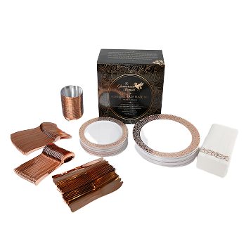 Glamorous Moment Rose Gold Lace Plastic Dinner Set (175 piece)