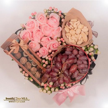 Fresh Pink Roses, Grapes,Nuts & Chocolate Arrangement