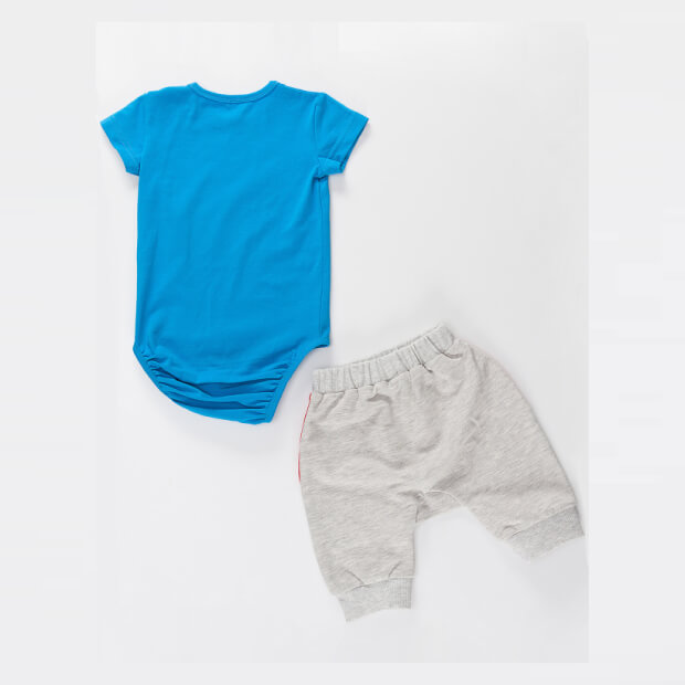 Raw Capali Blue Babysuit With Grey Short