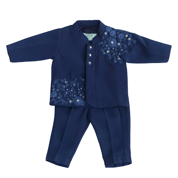 Fayon Kids Midnight Blue Embroidery Ajkan With Pant