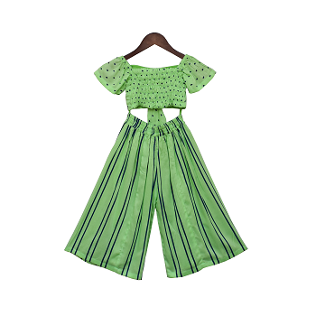 Fayon Kids Green Printed Top with Stripe Pants