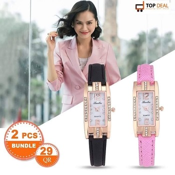 Luobos Pink and Black Women's watch (2 Pcs Bundle)