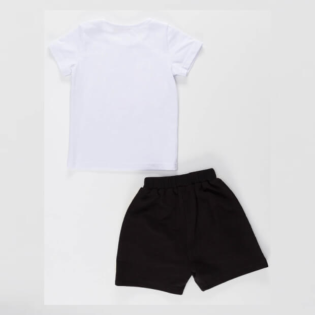 Raw Racer Printed White T-shirt With Black Short