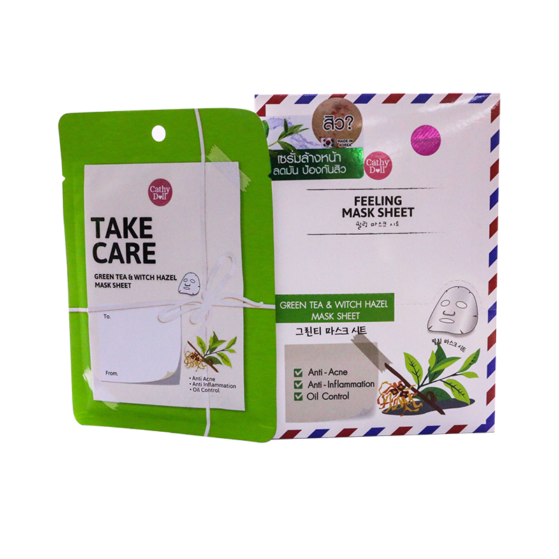 Cathy Doll Green Tea & Witch Hazel Feeling mask sheet - Take Care