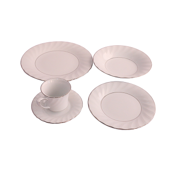 Horselane 20pcs Dinner Set Wavy Silverline