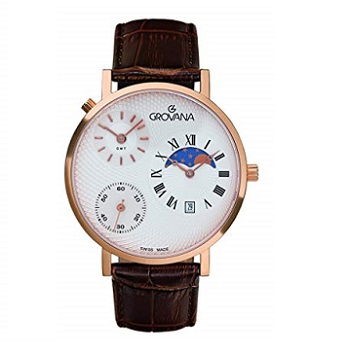 Grovana Brown Leather Strap Men's Watch 1711.1562