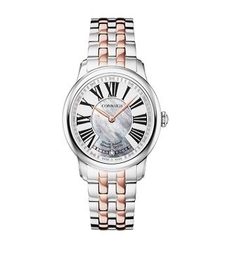 Ladies Quartz Stainless Steel Rose Gold Plated Case White Mop Dial 1 Diamond Watch