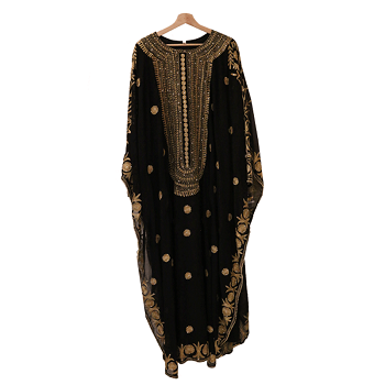 Ideal Fashion Golden Embroidery dress,Black