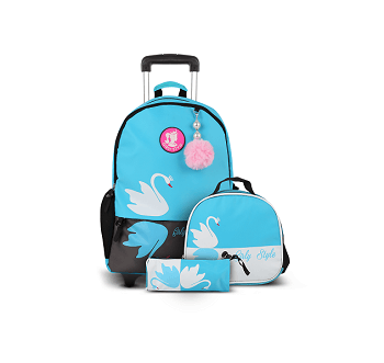 Girly Style Trolley School Bag- 2 wheels, Sky Blue
