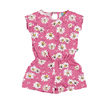 Floral Cotton Kids Girl Overalls, Pink