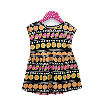 Fruity Cotton Blouse for Kids Girl, Black Multicolor