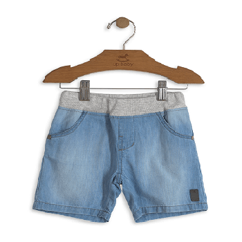 Children Boy's Solid Denim Shorts, Blue
