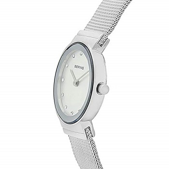 Bering Time White Color Round Dial Women's Watch, Silver