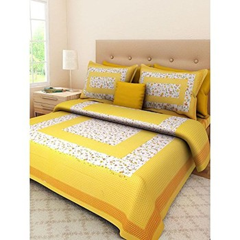 Nari - Cotton Printed Double Bedsheet With Pillow Cover-P96JPA5C36B62