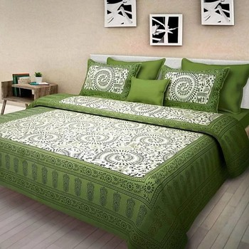 Nari - Cotton Printed Double Bedsheet With Pillow Cover-P96JPA8C7538C