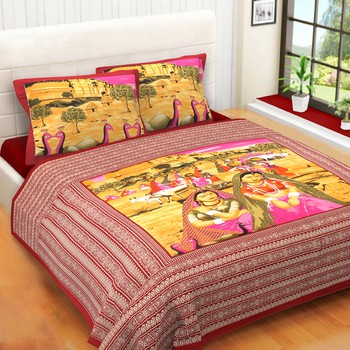 WCL - Cotton Printed Double Bedsheet With Pillow Covers-I34JP594FB643