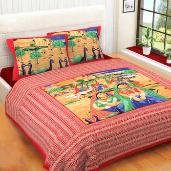 WCL - Cotton Printed Double Bedsheet With Pillow Covers-I34JPB45BFAE3