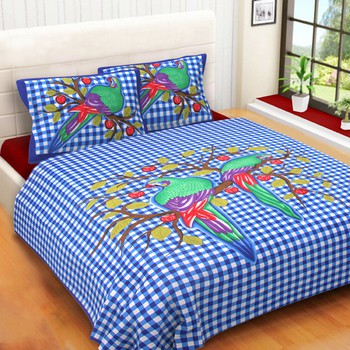 WCL - Cotton Printed Double Bedsheet With Pillow Covers-I34JPF8F55E18