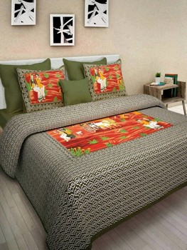 WCL - Cotton Printed Double Bedsheet With Pillow Covers-I34JP939B1D75