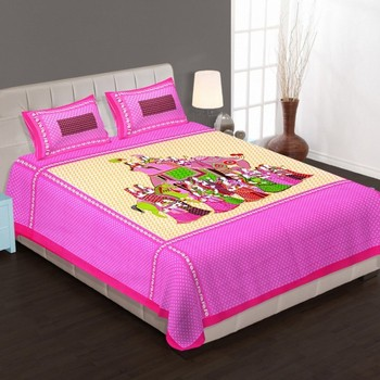 WCL - Cotton Printed Double Bedsheet With Pillow Covers-I34JP8D0FB73E