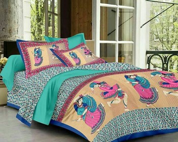 WCL - Cotton Printed Double Bedsheet With Pillow Covers-I34JP93847C85