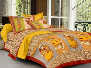 WCL - Cotton Printed Double Bedsheet With Pillow Covers-I34JPAC538CC9
