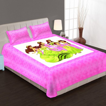 WCL - Cotton Printed Double Bedsheet With Pillow Covers-I34JP9AA88743