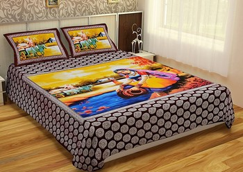 WCL - Cotton Printed Double Bedsheet With Pillow Covers-I34JP4FD8EF8E