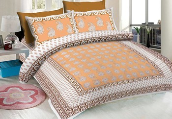 WCL - Cotton Printed Double Bedsheet With Pillow Covers-I34JP5318FB52