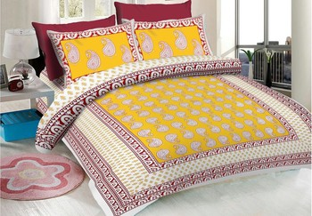 WCL - Cotton Printed Double Bedsheet With Pillow Covers-I34JP319B3AF8