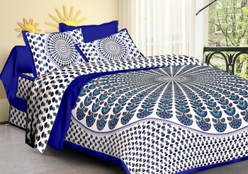 WCL - Cotton Printed Double Bedsheet With Pillow Covers-I34JP0A874E79