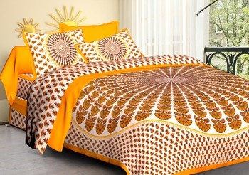 WCL - Cotton Printed Double Bedsheet With Pillow Covers-I34JP13AEE129