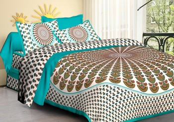 WCL - Cotton Printed Double Bedsheet With Pillow Covers-I34JP810E69AE