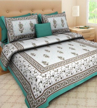 WCL - Cotton Printed Double Bedsheet With Pillow Covers-I34JPED997AA6