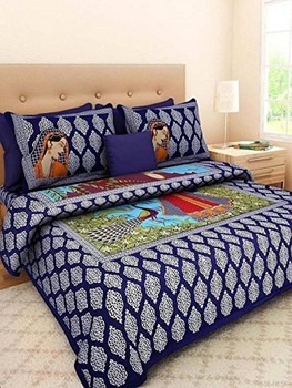 Saba - Cotton Printed Double Bedsheet With Pillow Cover-U09JPF688DE81