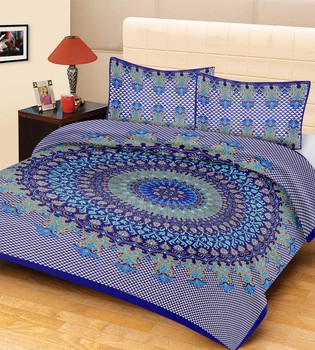 Priyam - Cotton Printed Double Bedsheet With Pillow Cover-Z21JP7FC5F428