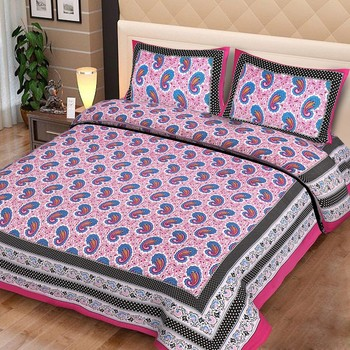 Priyam - Cotton Printed Double Bedsheet With Pillow Cover-Z21JP8DD3796D