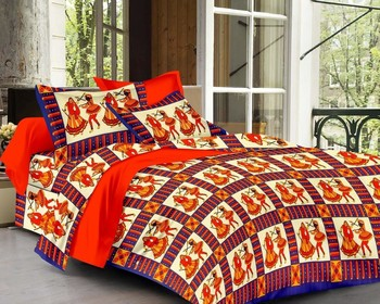Priyam - Cotton Printed Double Bedsheet With Pillow Cover-Z21JP67447626