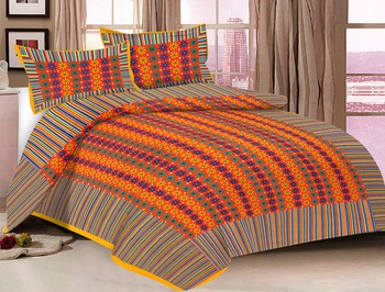 Priyam - Cotton Printed Double Bedsheet With Pillow Cover-Z21JPF1B467E8