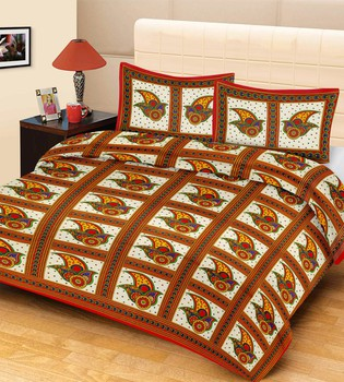 Priyam - Cotton Printed Double Bedsheet With Pillow Cover-Z21JP236D953E